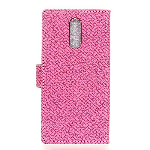 YHUISEN ZTE Axon 7 caso, patrón de tejido de cierre magnético Cartera de cuero de la PU Flip Folio cubierta protectora de la caja para ZTE Axon 7 ( Color : Purple ) Pink