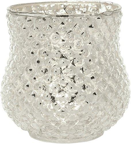 Luna Bazaar Vintage Mercury Glass Vase (4-Inch, Ruby Design, Silver) - Decorative Flower Vase - for Home Decor, Party Decorations, and Wedding Centerpieces