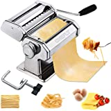 CHEFLY Sturdy Homemade Pasta Maker All in one 9 Thickness Settings for Fresh Fettuccine Spaghetti Lasagne Dough Roller…