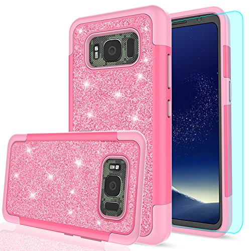 Galaxy S8 Active Glitter Case (Do Not Fit S8) with HD Screen Protector, LeYi Bling Cute Girls Women [PC Silicone Leather] Heavy Duty Protective Phone Case for Samsung Galaxy S8 Active TP Pink