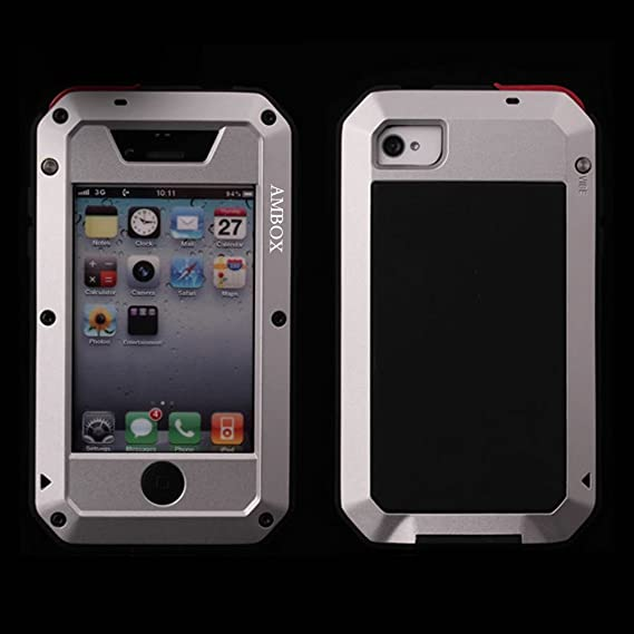 low priced 41f8a e1c0d iPhone 4 Case, iPhone 4S Case, Ambox Waterproof Shockproof Dust/Dirt Proof  Aluminum Metal Military Heavy Duty Protection Cover Case for Apple iPhone 4  ...