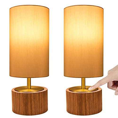 DEEPLITE Touch Control Table Lamp, Bedside Nightstand Lamp Modern Accent Desk Lamp Touch Sensitive Ambient Night Light for Bedroom, Living Room, Office, Cylinder Lamp Shade Wood Base Set of 2