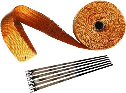 "2 Roll x 2/"" 50FT Orange Exhaust Wrap Header Manifold Fiberglass Heat Wrap Tape"