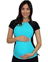 Mermaid Maternity Women's Maternity Short Sleeve Illusion Rash Guard Swim Shirt
