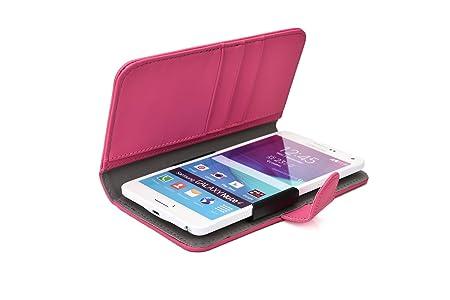 Funda Deslizable tipo Cartera Cooper Cases (TM) Slider para Smartphone de Micromax A114 Canvas 2.2 / A114R Canvas Beat en Rosa (Acceso a cámara trasera; ...