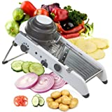ADOV Mandolin Slicer, Professional PL8 Waffle Julienne Slice Adjustable Stainless Steel with 18 Kinds of Function Perfect for Cutting Slicing Fruits Food Vegetables - Gray