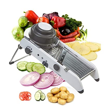 ADOV Mandolina Verduras Cortador Profesional, PL8 Ajustable de Acero Inoxidable 18 Tipos Multifuncional Cocina Cortadora Perfecto para Waffle Juliana ...