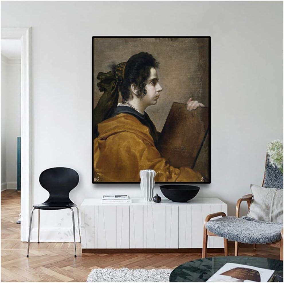 Cuadro en Lienzo《Retrato de Juana Pacheco》Diego Velázquez Art Poster Picture Modern Home Decoration 50x70cm sin Marco