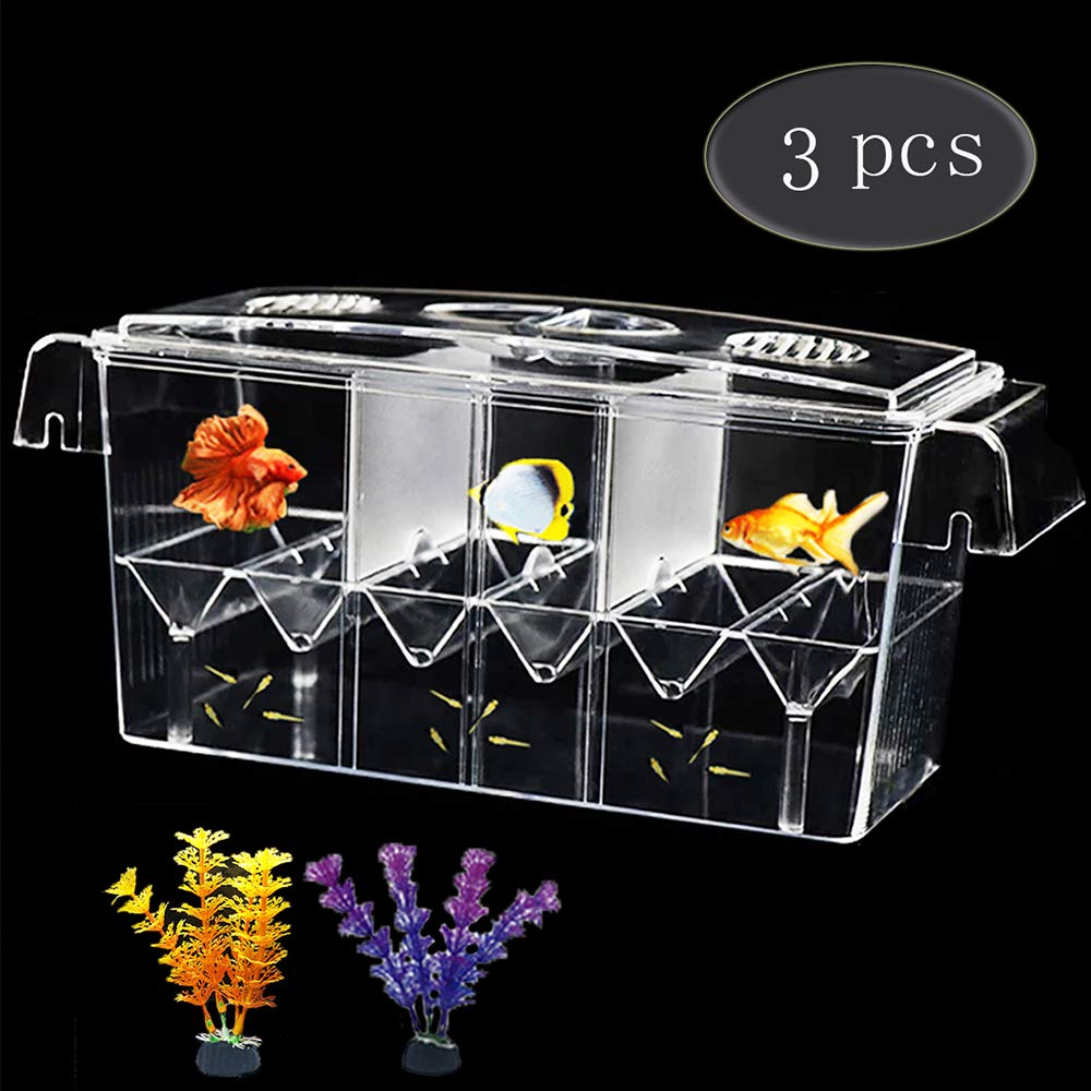 Fish Breeding Box, Aquarium Breeder Box Fish Baby Hatchery Incubator Isolation with Artificial Plant for Guppy