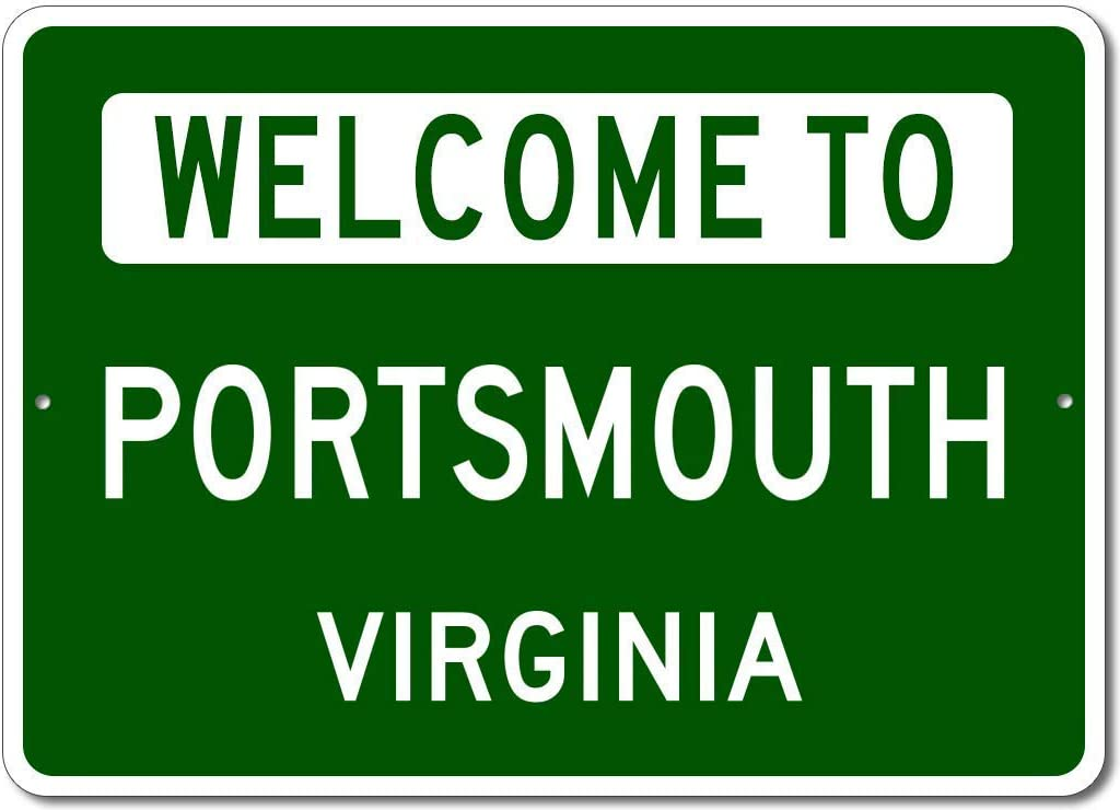 Personalized Metal Sign Indoor/Outdoor Wall Decor,Portsmouth, Virginia - Welcome to Us City State Sign - Aluminum 8