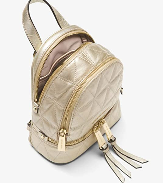 1e376935a338e MICHAEL Michael Kors Rhea Mini Metallic Quilted Leather Backpack in ...