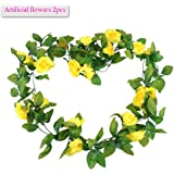 Meiwo 9 Roses Garland Silk Flowers Vine Garland Wall Hanging Flowers Vine for Home Wedding Garden Decoration Pack of 2(Yellow)