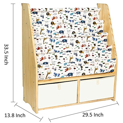 MallBest Childrens Bookshelf Kids Sling Book Rack with Two Storage Boxes and Toys Organizer Shelves Natural Solid Wood Baby Bookcase by MallBest (Image #2)