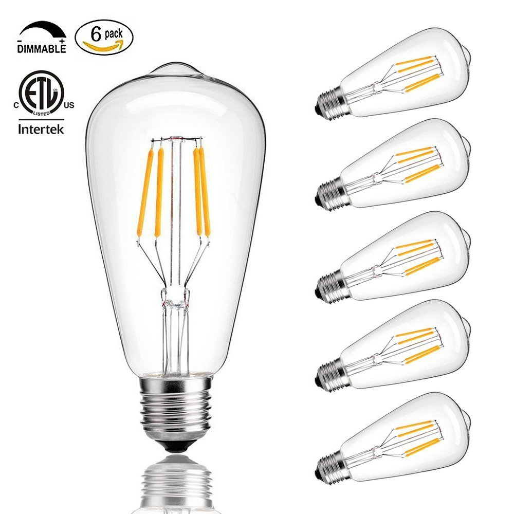 CMYK Vintage Edison LED Bulb, Dimmable 4W ST64 Antique LED Bulb Squirrel Cage Filament Light For Decorate Home, E26, 4000K, Daylight, Pack of 6