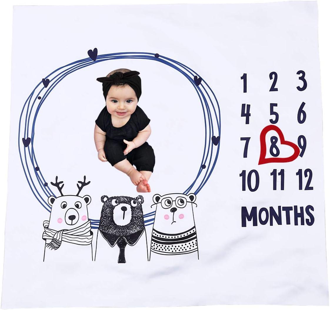 DaMohony - Manta Bebé de Hitos Mensuales Mantitas Bebe Recien Nacido Mantas mensual regalos para mamas embarazadas y Bebés Pequeños