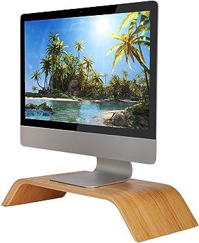SAMDI Pantalla de Ordenador Soporte, Madera Elevador de Monitor Soporte de Sobremesa Soporte para Portátiles para Apple MacBook Air Pro iMac LCD Monitor PC Televisores Impresora (Bambú): Amazon.es: Electrónica