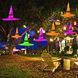 MAOYUE Halloween Decorations Outdoor 8Pcs Hanging Lighted Glowing Witch Hat Decorations 36ft Halloween Lights String Battery Operated Halloween Decor with 8 Lighting Modes for Outdoor, Yard, Tree