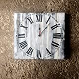 Large Wall Clock with Roman Numeral Face Created with Solid Wood White with Distressed Antique FInish, 20x20'' made by Seeka Decor