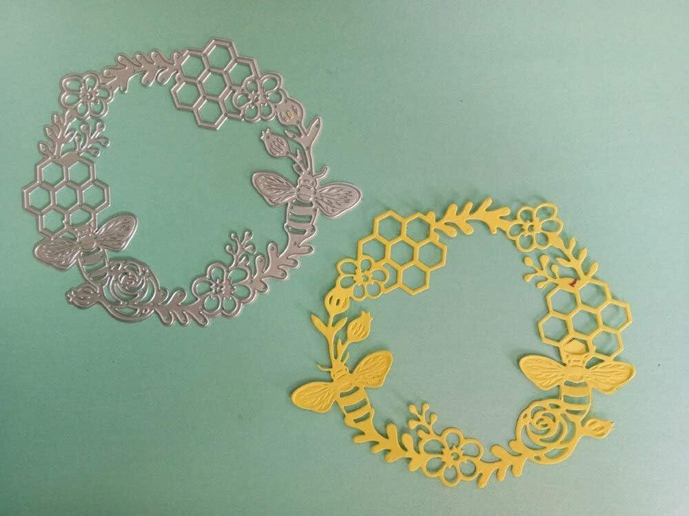 Bee Lace Wreath Frame Cutting Dies,Letmefun Metal Cutting Dies Stencils For DIY Stencils Scrapbooking Craft Dies Embossing Dies Cut Cards Making