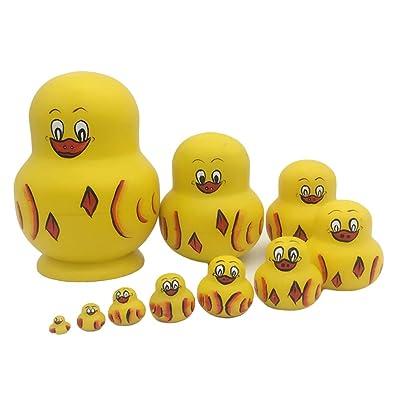 ULTNICE 10PCS Muñecas de anidación rusas Matryoshka Pato de madera amarillo Apilamiento Muñeca de juguete: Hogar