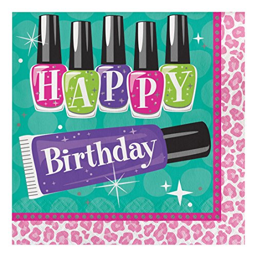 Creative Converting 317274 16 Count Paper Lunch Napkins, Happy Birthday, Sparkle Spa (Creative Nail Design Mask)