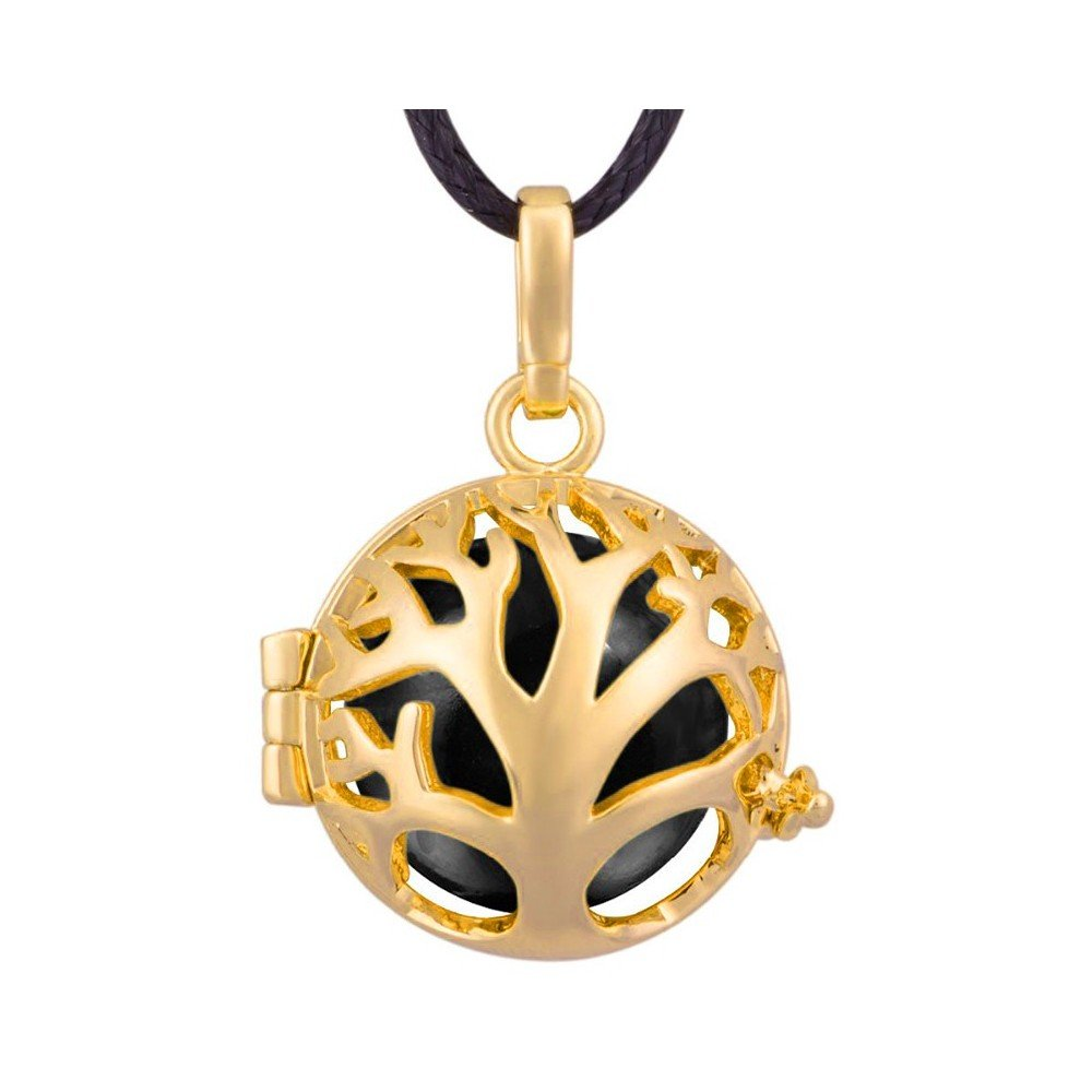 BOBIJOO Jewelry - Bola de Grossesse Collier Pendentif Cage Arbre de Vie Doré Or Fin Noir Cordon
