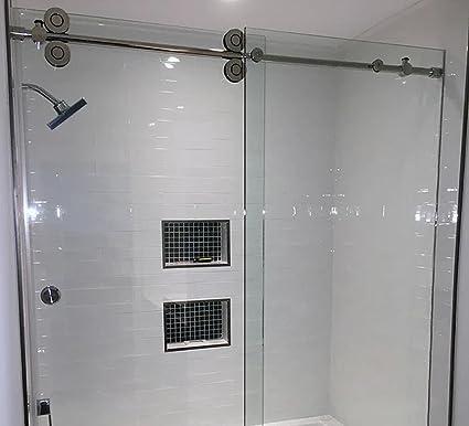 Amazon Com 6 6ft Frameless Bypass Shower Enclosure Sliding Barn