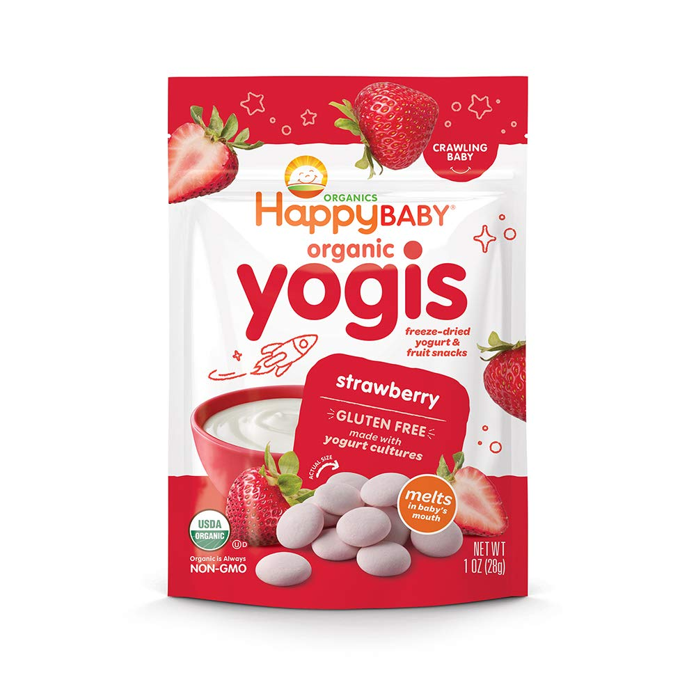 Happy Baby Organic Yogis Freeze-Dried Yogurt & Fruit Snacks Strawberry