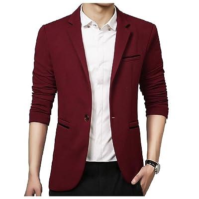 Fseason-Men Blazer Relaxed Fall Winter Single Button Suit Coat Tops