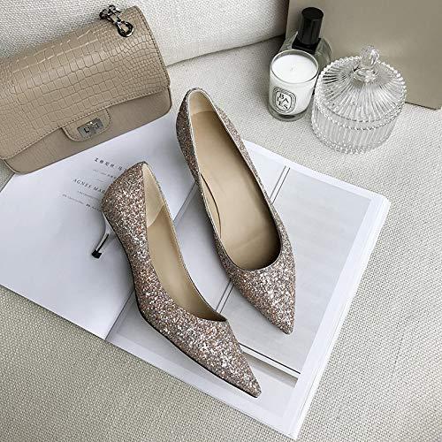 Boca Gradient Mujer La Gold Zapatos Fine De Boda De De with Tacón De Sequins Champagne Otoño de tacón zapatos alto Zapatos Baja Yukun Grey Alto De Pointed Novia 6YqCSSvp