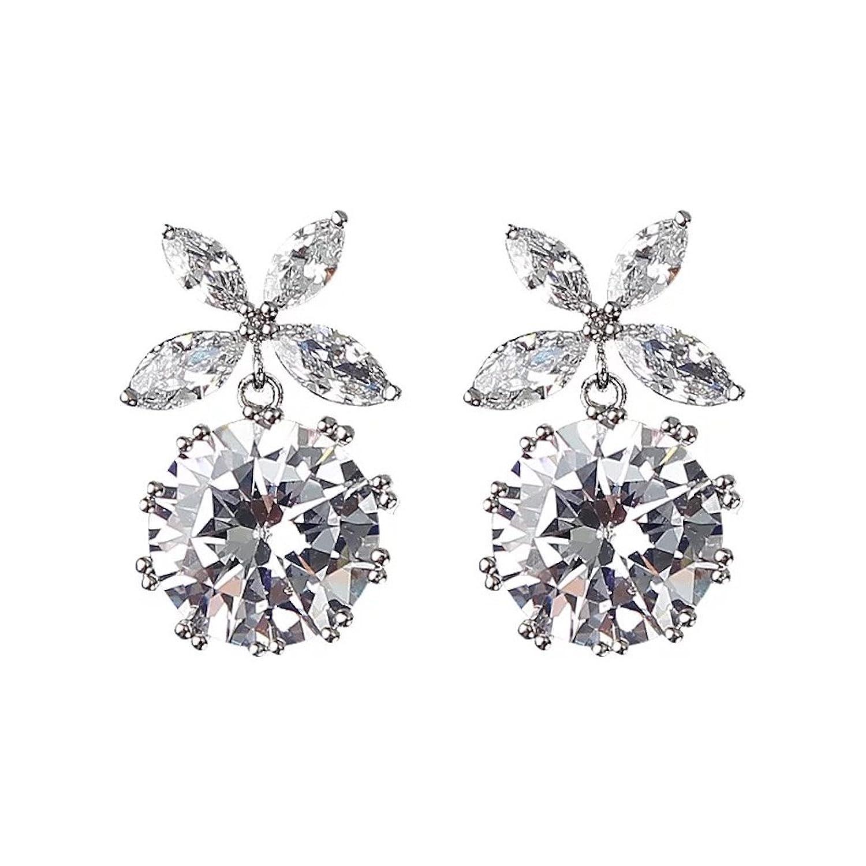 Twinmond Silver Pin Crystal Round Cut Cubic Zirconia Women Fashion Stud Earrings for Gift FprAdnjgX