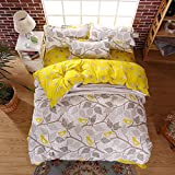 Moreover 4-Pieces Kids Bedding Pastoral Style Floral Duvet Cover Set Plants and Birds Printing Bedding Set One Duvet Cover One Flat Sheet Two Pillowcases (Grey-Yellow, Twin)