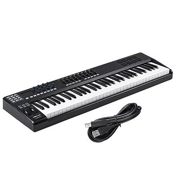 Festnight USB Controlador Teclado MIDI 61 Teclas 8 Almohadillas Retroiluminadas RGB y Cable: Amazon.es: Instrumentos musicales
