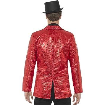 Chaqueta disco roja de lentejuelas lujo hombre: Amazon.es: Juguetes y juegos