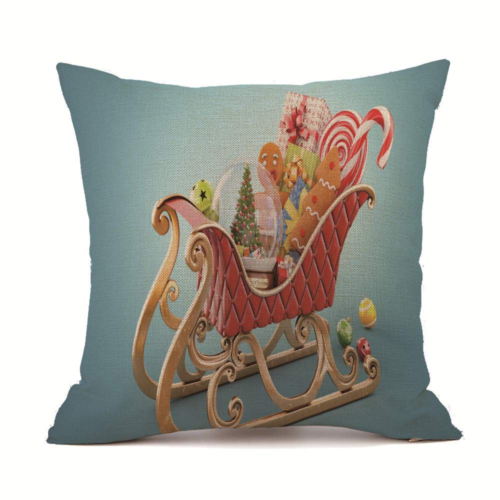 Kaitobe Decorative Square Cushion Covers Linen Christmas Xmas Sofa Throw Pillow Covers Home Decor Bedroom Car Blue