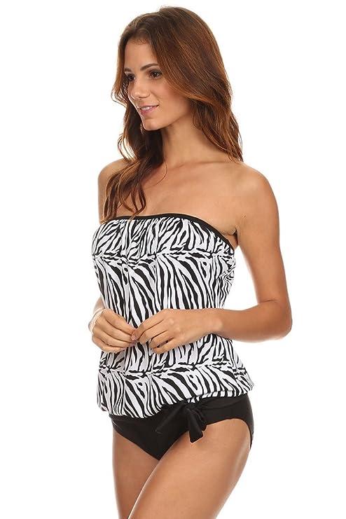 b1f5e0306209f Dippin  Daisy s Womens Bandeau Blouson Tankini w High Waist Bottom Swimsuit  at Amazon Women s Clothing store