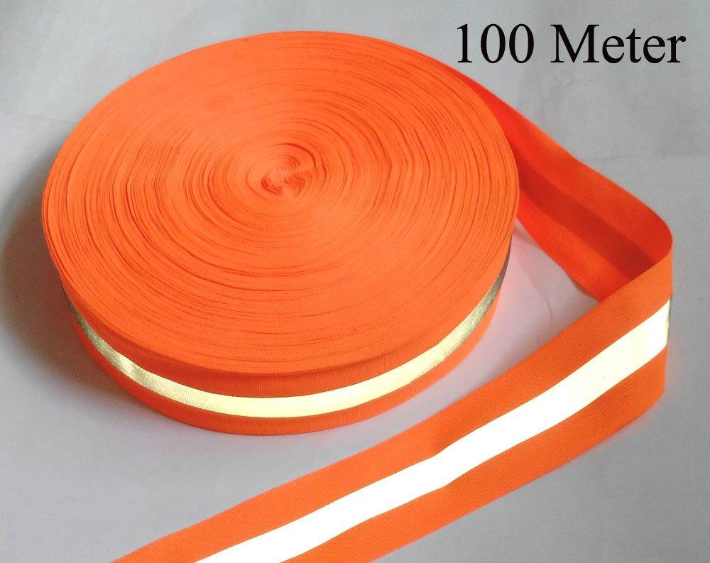 Treading ( TM ) 50 mmx15 mm 100メーター、オックスフォードorange-silvery-orange Reflective Fabric Sewingテープ、の縫製テープ、   B01N3R1Q8Y