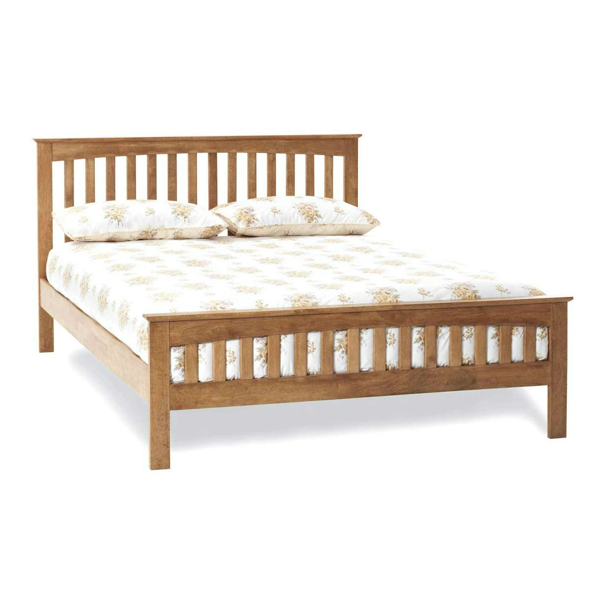 Wooden Bed Frame with Slatted Headboard and Footend - Hevea Bedstead ...