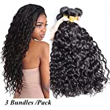 Cheap Brazilian Water Wave Bundles with Closure 10A Brazilian Virgin Hair 3 Bundles with Lace Closure Free Part Unprocessed Wet and Wavy Human Hair Extensions Natural Black 300g (12 12 12)
