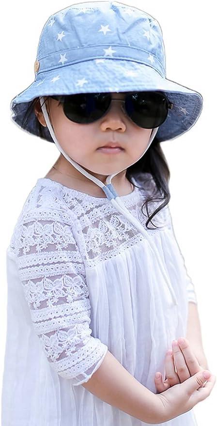 Jixin4you Kids Outdoors Cute Blue Summer Reversible Bucket Cap Sun Hat