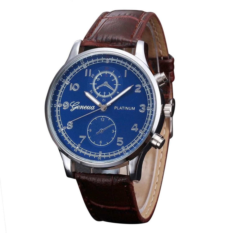 メンズ腕時計、Tomin新しいメンズレトロデザインレザーバンドアナログ合金クォーツ腕時計 ブラウン B071YSPL5W