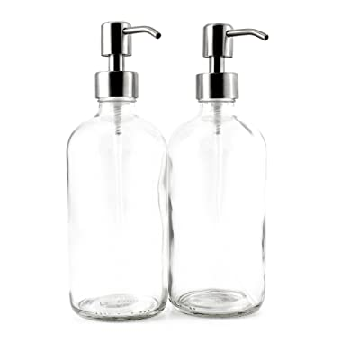 16-Ounce Clear Glass Boston Round Bottles w/Stainless Steel Pumps (2 Pack), Great for Essential Oils, Lotions, Liquid Soaps