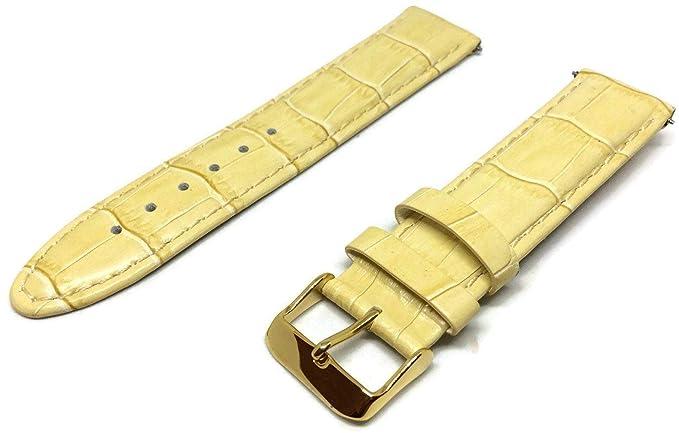 Crocodile Grain - Correa para Reloj (Piel de Vacuno, 18 mm), Color Beige: Amazon.es: Relojes
