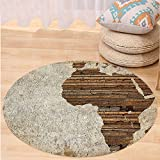 VROSELV Custom carpetAfrican Decor Geography Theme Vintage Wooden Plank Africa Map Digital Print for Bedroom Living Room Dorm Tan Umber and Brown Round 79 inches