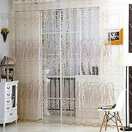 Rrimin Fresh Floral Print Tulle Voile Door Window Rom Curtain Drape Panel  Sheer Scarf Valances 1