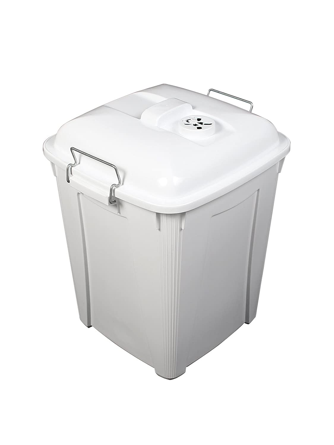 DIAPER PAIL - 14 G - W/LID, HANDLES & ROUND TEDDY CAGE - WHITE