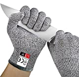 Best-Sun Cut Resistant Gloves Food Grade Level 5 Protection, Safety Kitchen Cuts Gloves for Oyster Shucking, Fish Fillet Processing, Mandolin Slicing, Meat Cutting and Wood Carving, 1 Pair (Small)