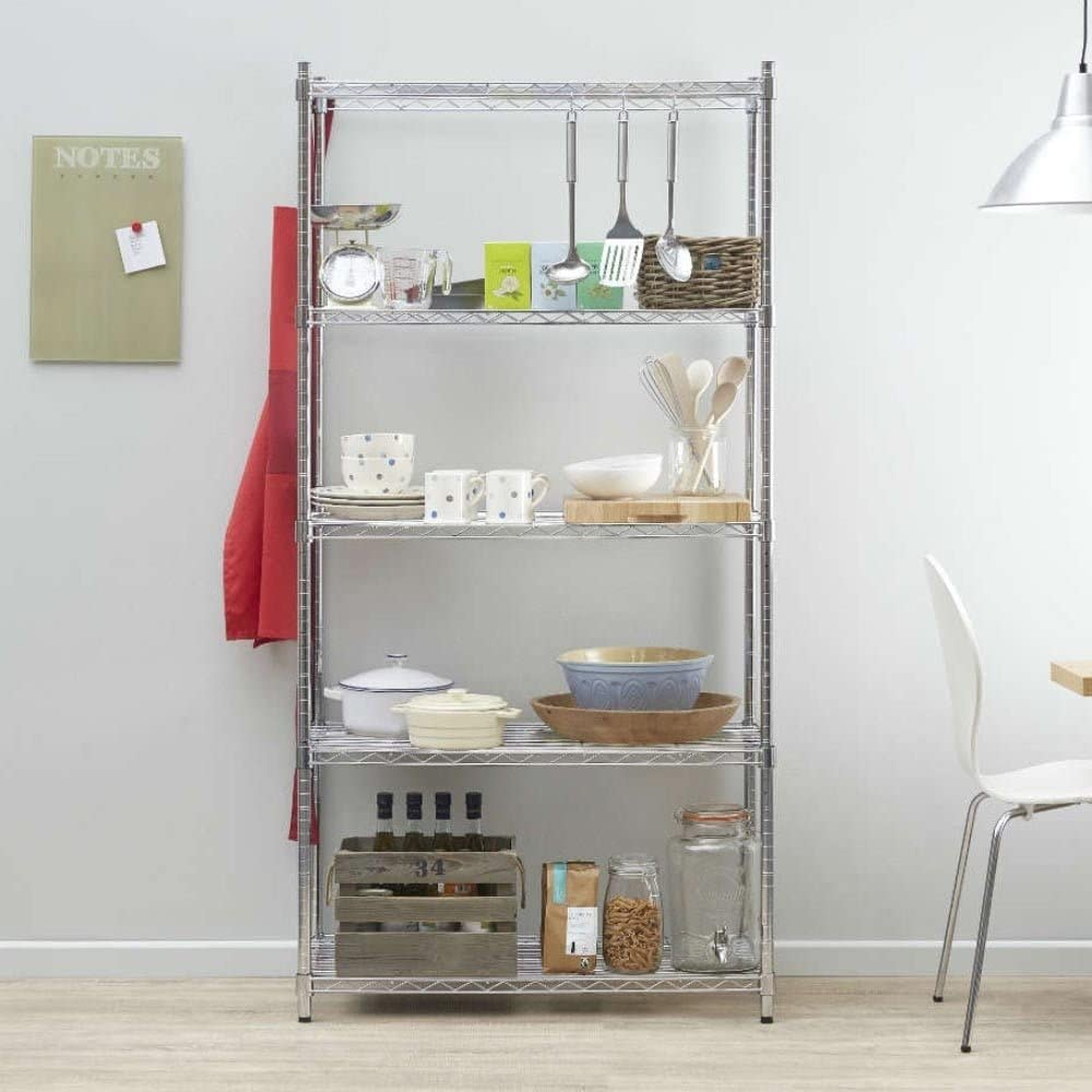 Large Chrome Shelving Unit - 6 Shelves, H1800 x W1200 x D450 mm Strong Steel Wire Shelves Ideal for Kitchens, Offices, Stockrooms, Retail Shops and more