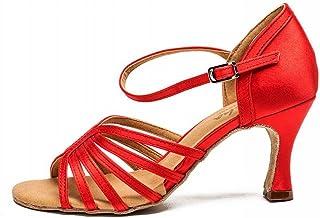 BYLE Sangle de Cheville Sandales en Cuir Chaussures de Danse Modern'Jazz Samba Chaussures de Danse Latine avec des Femmes Adultes de Bal Satin Rouge Chaussures de Danse