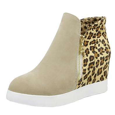 Women's Leopard Inside Wedges Ankle Boots